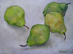 4 Pears oil on canvas 450.00