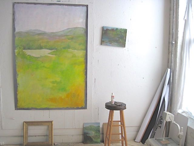 yellow painting in winter light